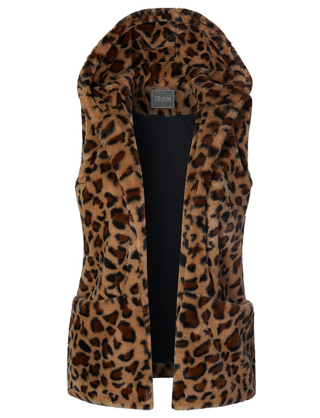 Womens Faux Fur Leopard Open Hoodie Vest Waistcoat with Pockets (WV4309)
