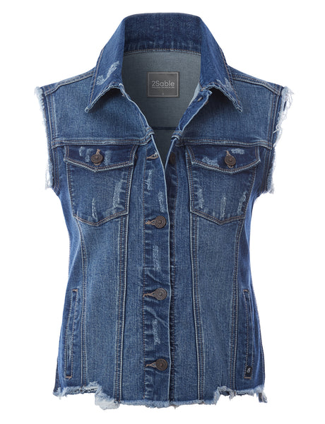 Womens Plus Size Basic Distressed Frayed Sleeveless Button Up Denim Vest with Welt Pockets (WV4750P)