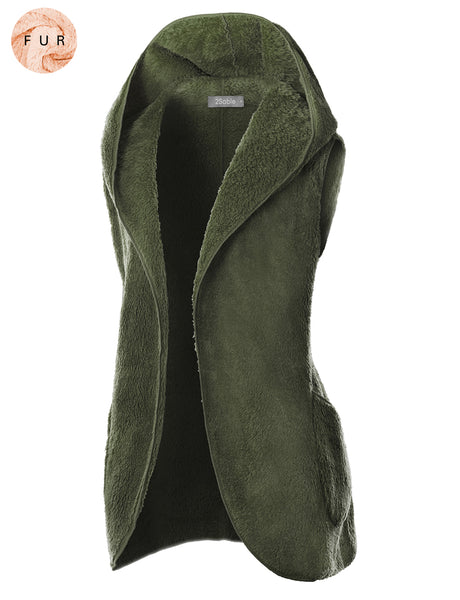 Womens Oversized Cocoon Faux Fur Sleeveless Open Front Hoodie Vest with Pockets (WV4791)