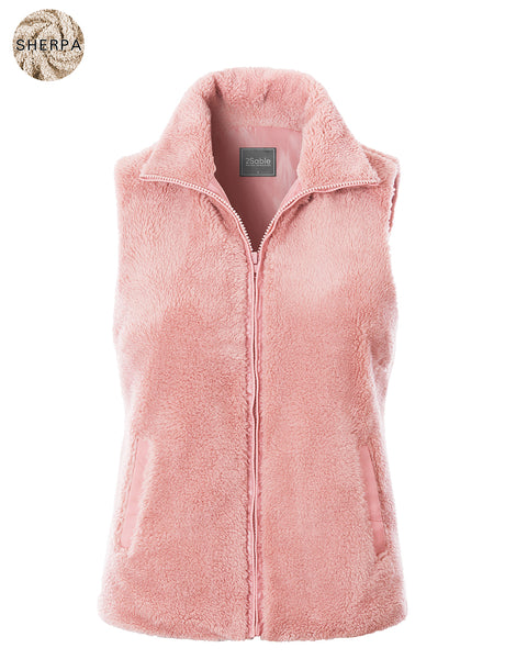 Womens Faux Fur Fleece Zip Up Vest with Pockets (WV4794)