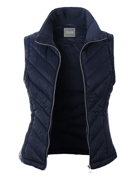 Womens Lightweight Active Zip Up Padded Puffer Vest with Pockets (WV4856)
