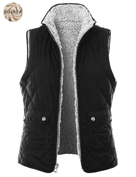 Womens Plus Size Reversible Sherpa Padded Puffer Vest with Pockets (WV4862P)