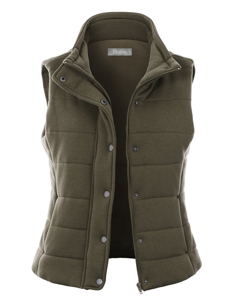 Womens French Terry Padded Puffer Vest with Pockets (WV4867)
