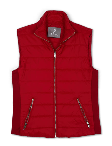 Womens Lightweight Ribbed Detail Puffer Vest Jacket with Pockets (WV4883)