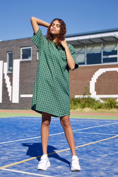Elliott Reversible Button Down Dress in Forest Green