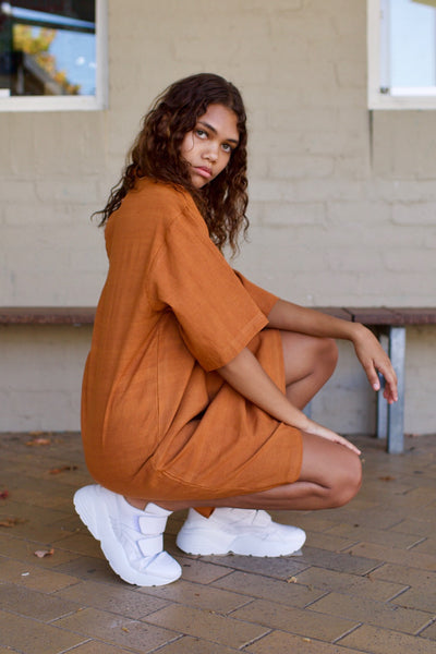 Greta Turtle Neck Dress in Ginger