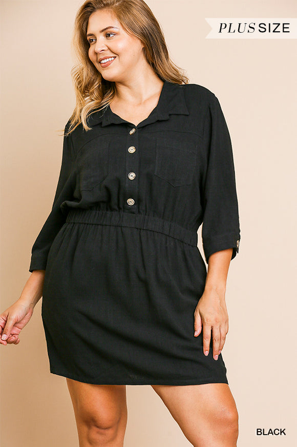 Tiffany Linen Dress in Black