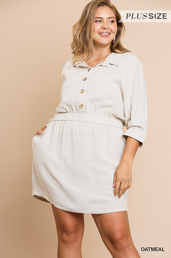 Tiffany Linen Dress in Oatmeal