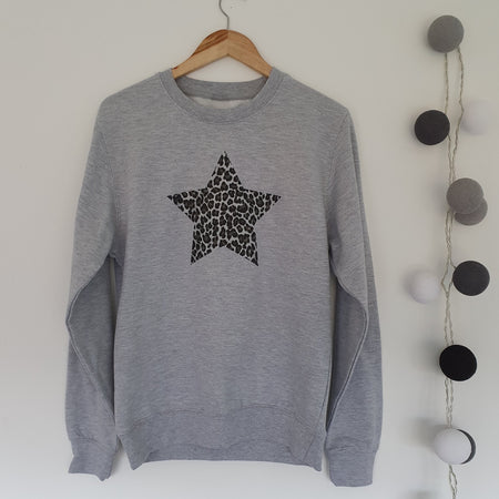 SAMPLE SALE - Leopard Star Boyfriend Sweat - Grey/ Leopard