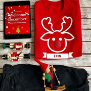 Reindeer Custom Kids Christmas Jumper Sweat - Red