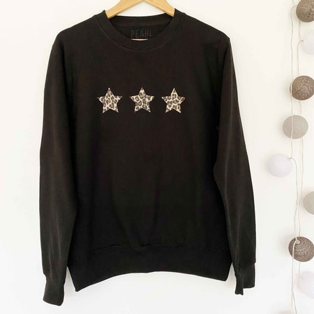 Triple Leopard Star Boyfriend Classic Sweat - BLK