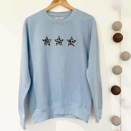 Triple Leopard Star Boyfriend Classic Sweat - BLUE