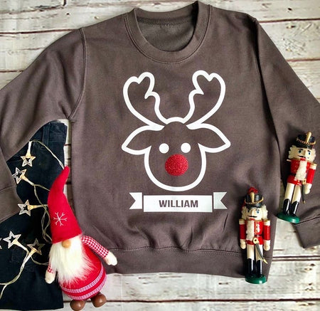 Reindeer Custom Kids Christmas Jumper Sweat - Slate Grey