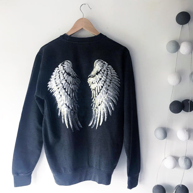 Faded Glamour Sequin Angel Wings Boyfriend Fit Sweat - Black / Silver LTD ED