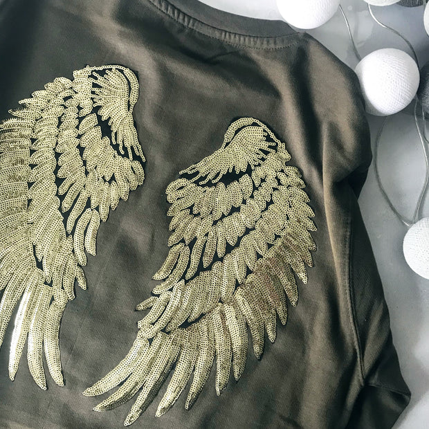 SAMPLE Sequin Angel Wings Boyfriend Fit Sweat - OLIVE / GOLD