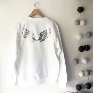 No Angel Wings Boyfriend Fit Sweat - Winter White / Silver Limited Edition