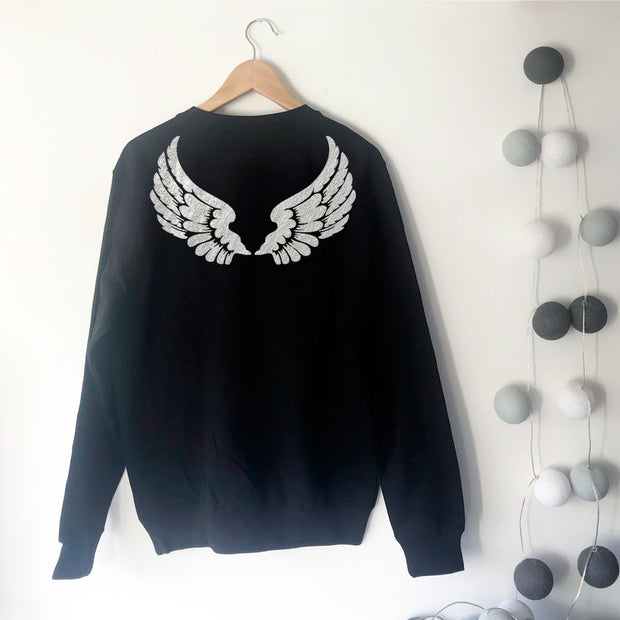 No Angel Wings Boyfriend Fit Sweat - Black / Silver