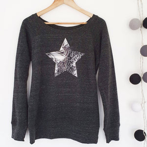 Abstract Star Womens Wide Neck Softie Sweat Charcoal / Grey