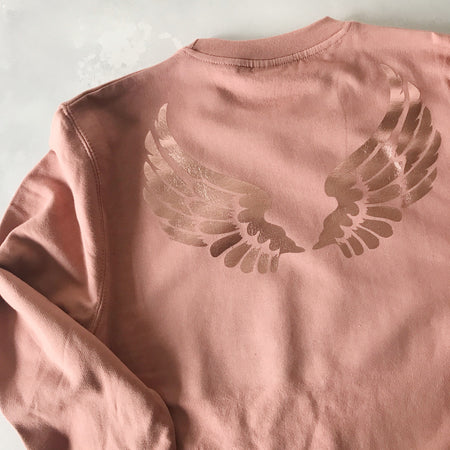 Wings Boyfriend Classic Sweat -  Dusty Pink & Rose Gold