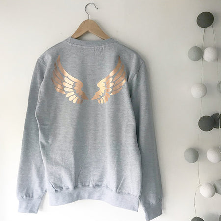 Wings Boyfriend Fit Sweat - Grey / Rose Gold