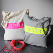 Retro Tape Custom Name Tote Bag Neons