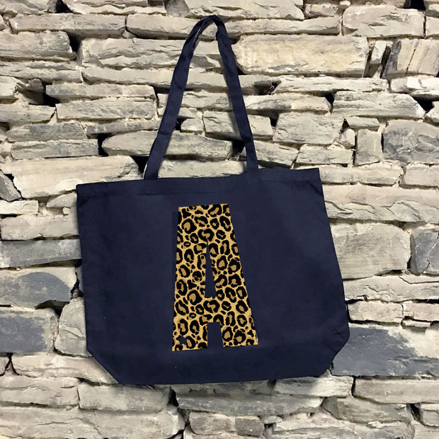 Custom Star Initial Leopard Large Canvas Tote
