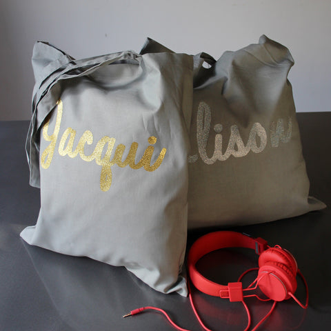 Scribed Name Custom Tote Bag Metallic