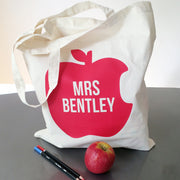 Apple Custom Name Tote Bag