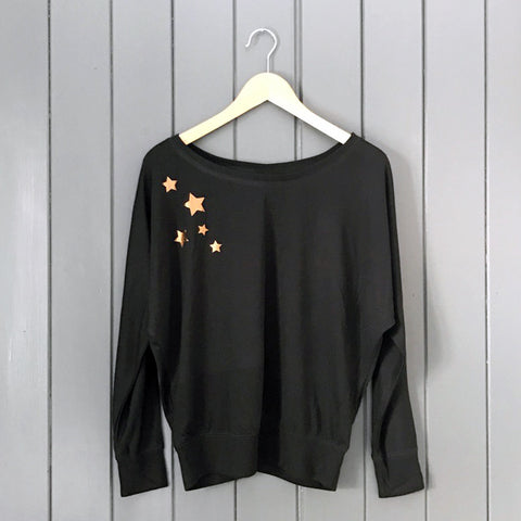 Starfall Batwing Drape Jersey Top Black / Copper