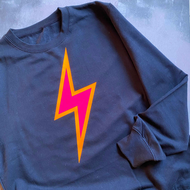 SAMPLE Neon Bolt Boyfriend Fit Sweat NAVY/ NEON