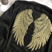 Sequin Angel Wings Boyfriend Fit Sweat - Black / Gold