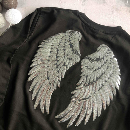 Sequin Angel Wings Boyfriend Fit Sweat - Black / Silver