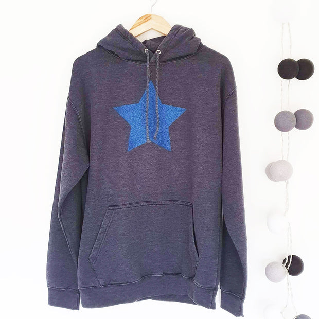 Faded Blue Hoodie Boyfriend Classic Sweat - Washed Blue & Blue Glitter Star