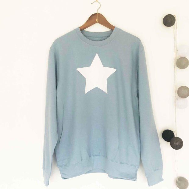 SAMPLE SALE - Star Boyfriend Sweat - Dusty Blue/ White