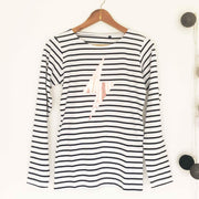 Breton Stripe 100% Cotton Long Sleeve Tee - White & Blue Stripe / Rose Gold