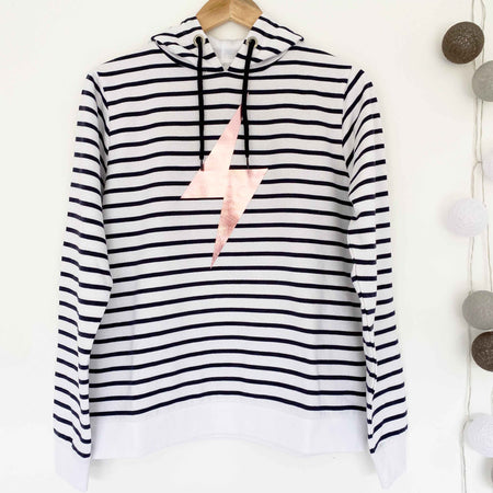 Breton Stripe Hoodie - White & Blue Stripe / Rose Gold