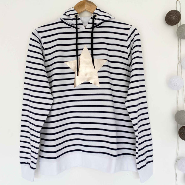 Breton Stripe Hoodie - White & Blue Stripe / Pale Gold