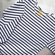 Breton 100% Organic Cotton  Long Sleeve Tee - Navy/ White Stripe