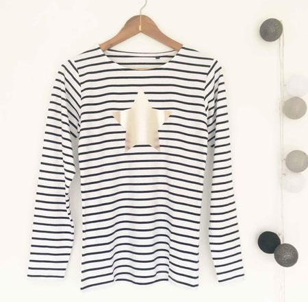 Breton Stripe 100% Cotton Long Sleeve Tee - White & Blue Stripe / Pale Gold