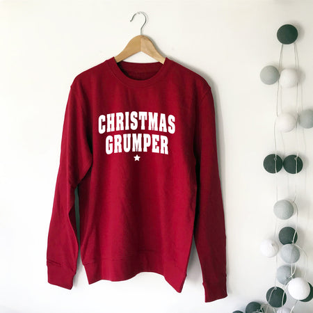 CHRISTMAS GRUMPER Womens Boyfriend Sweat Red/White