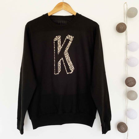 BESPOKE INITIAL Leopard Boyfriend Fit Sweat - Black/Trad