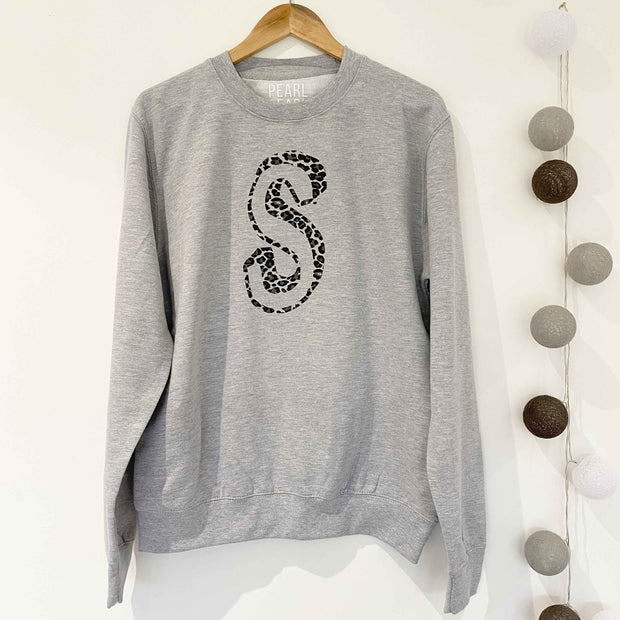 BESPOKE INITIAL Leopard Boyfriend Fit Sweat - Grey/Grey