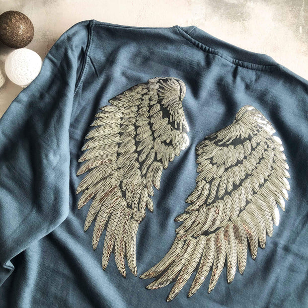 Sequin Angel Wings Boyfriend Fit Sweat - Dusty Blue / Silver