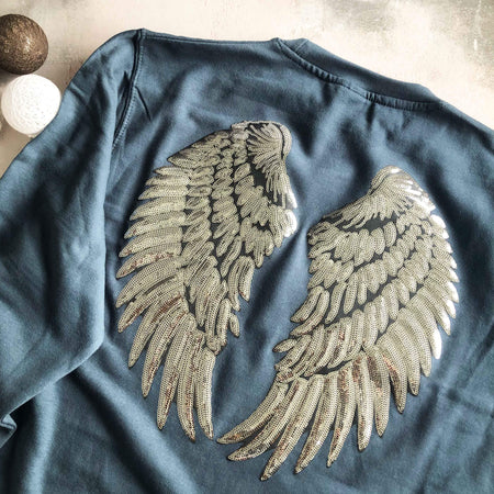 SAMPLE SALE - Angel Wings Boyfriend Sweat - Airforce Blue/ Silver