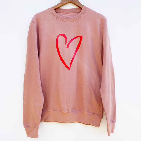 Sketched Heart Boyfriend Classic Sweat - DUSTY PINK