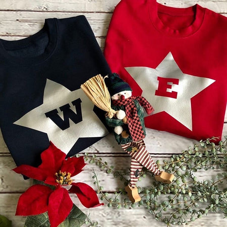 Star Custom Initial Kids Christmas Jumper Sweat - Red