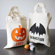 Halloween Icon Custom Trick or Treat Goody Bag - White with Black