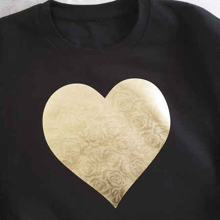 Heart of Gold Roses Boyfriend Fit Slouchy Sweat Black / Gold