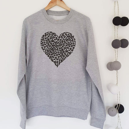 Zebra Heart Boyfriend Classic Sweat - Grey