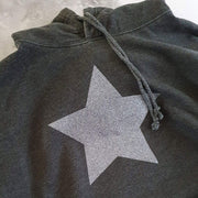 Faded Black Hoodie Boyfriend Classic Sweat - Washed Black & Grey Glitter Star